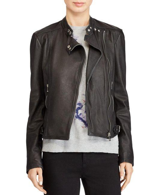 Ralph Lauren - Black Lauren Leather Moto Jacket - Lyst