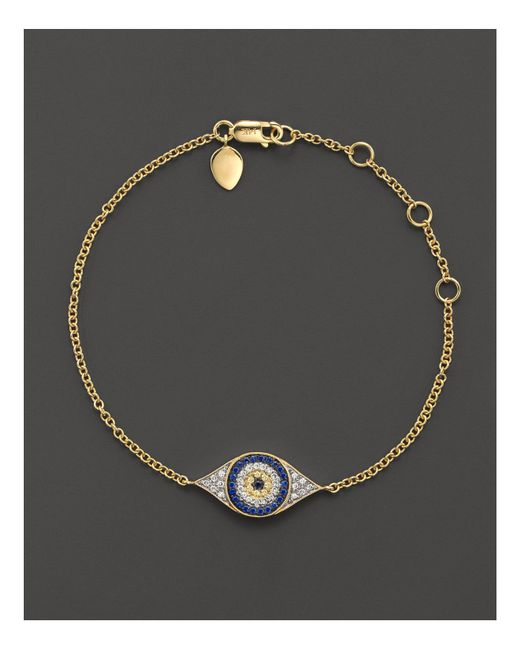Meira T | Blue Sapphire And 14k Yellow Gold Evil Eye Bracelet | Lyst
