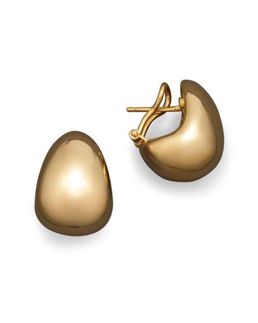 Roberto Coin | Metallic 18k Yellow Gold Bold J Hoop Earrings | Lyst