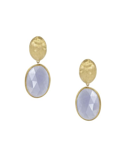 Marco Bicego - Blue 18k Yellow Gold Chalcedony Siviglia Earrings - Lyst