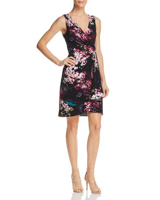 Adrianna Papell - Black Floral Jersey Dress - Lyst