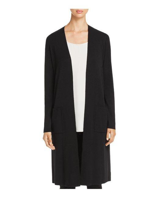 Eileen Fisher | Black Merino Wool Duster Cardigan | Lyst