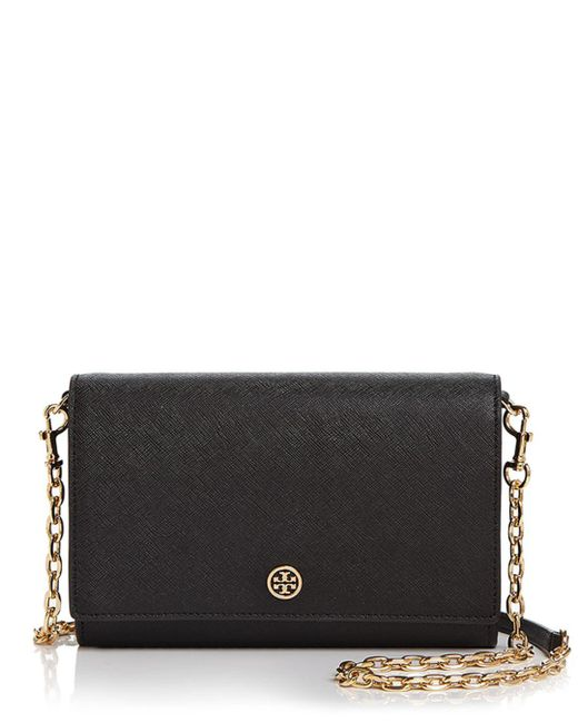 Tory Burch - Black Robinson Leather Chain Wallet - Lyst