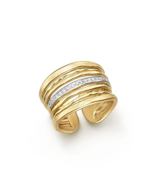 Meira T - Metallic 14k Yellow Gold Multi-band Open Ring With Diamonds - Lyst
