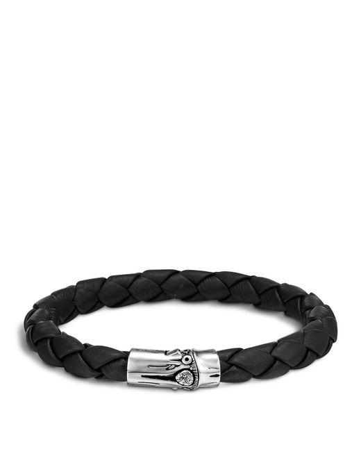 John Hardy | Metallic Men's Bamboo Silver Black Woven Leather Bracelet for Men | Lyst