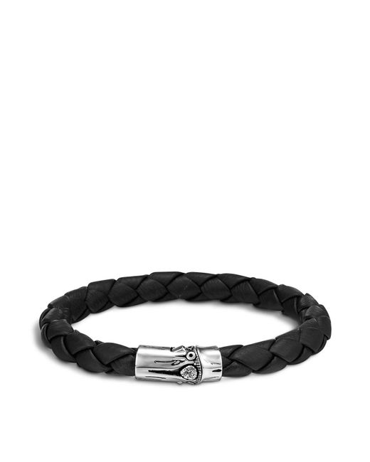 John Hardy | Metallic Men's Bamboo Silver Black Woven Leather Bracelet for Men | Lyst