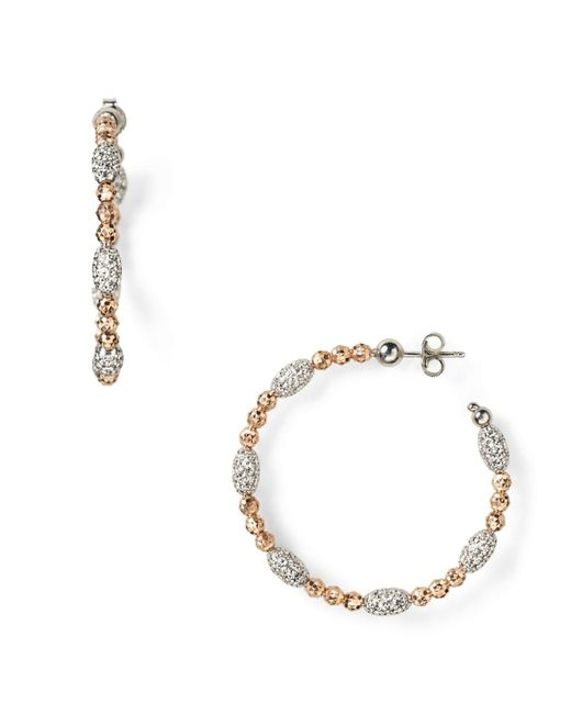 "Officina Bernardi | Pink ""moon"" Oval Bead Medium Hoop Earrings 