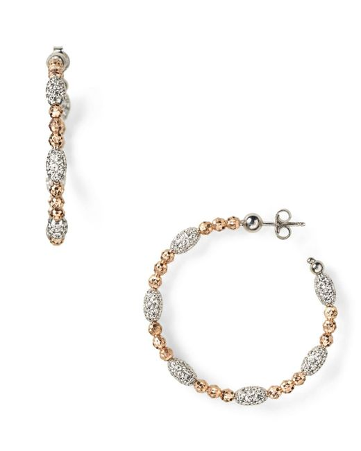 "Officina Bernardi | Pink ""moon"" Oval Bead Medium Hoop Earrings | Lyst"