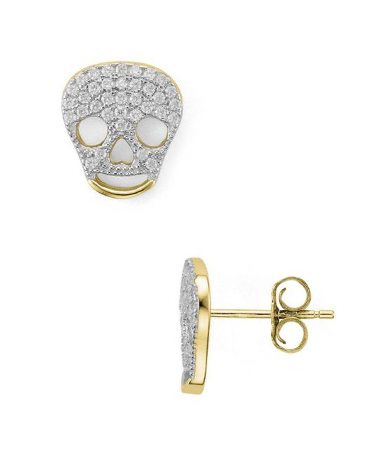 Aqua - Metallic Skull Stud Earrings - Lyst