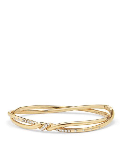 David Yurman - Metallic Continuance Center Twist Bracelet With Diamonds In 18k Gold - Lyst