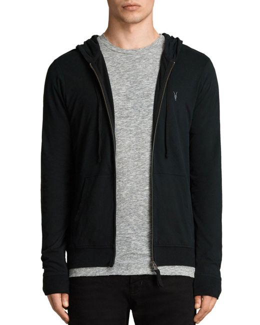AllSaints - Black Brace Hoodie for Men - Lyst