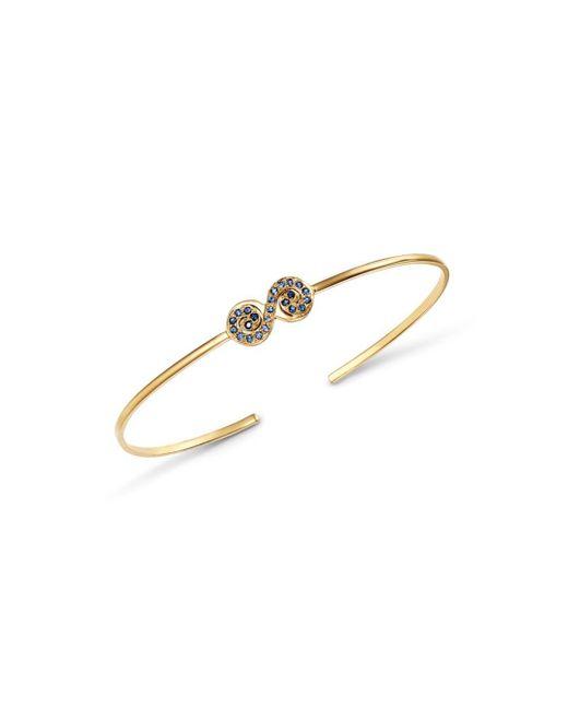 Shebee - 14k Yellow Gold Ombré Blue Sapphire Figure 8 Cuff Bracelet - Lyst