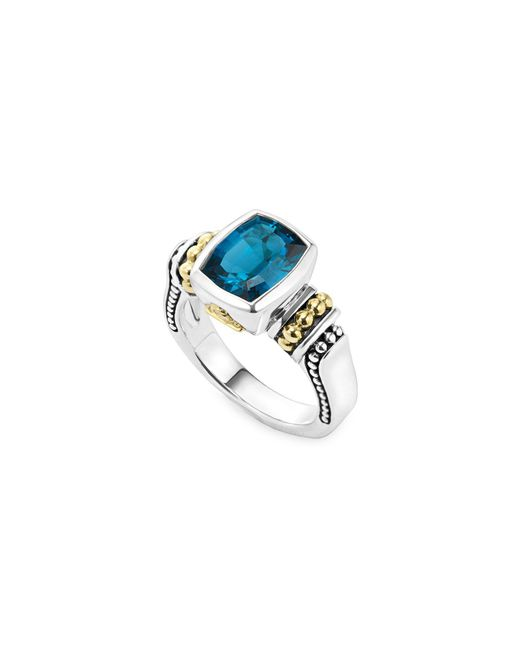Lagos - Metallic 18k Gold And Sterling Silver Caviar Color Bezel Ring With London Blue Topaz - Lyst
