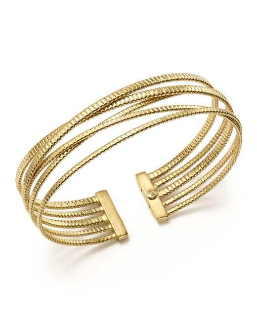 Bloomingdale's - Metallic 14k Yellow Gold Ribbed Five Row Crossover Cuff - Lyst