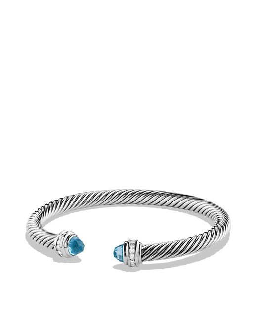 David Yurman - Metallic Cable Classics Bracelet With Blue Topaz And Diamonds - Lyst