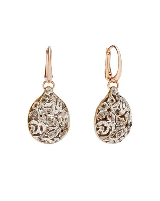Pomellato - Metallic Arabesque Earrings With Brown Diamonds In 18k Rose And White Gold - Lyst