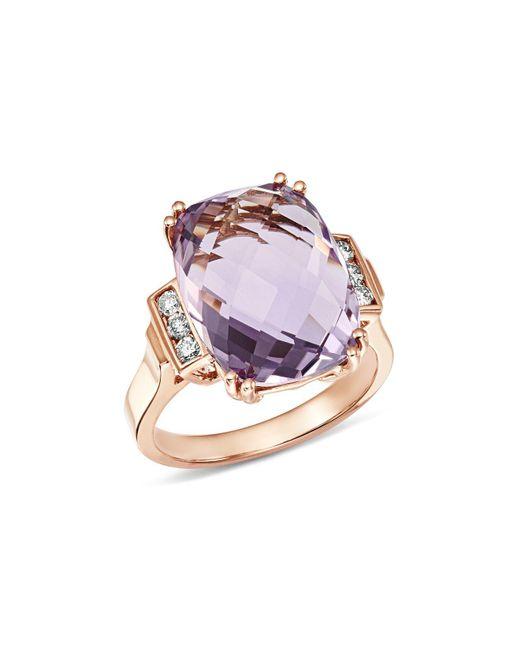 Bloomingdale's - Metallic Amethyst Cushion & Diamond Statement Ring In 14k Rose Gold - Lyst