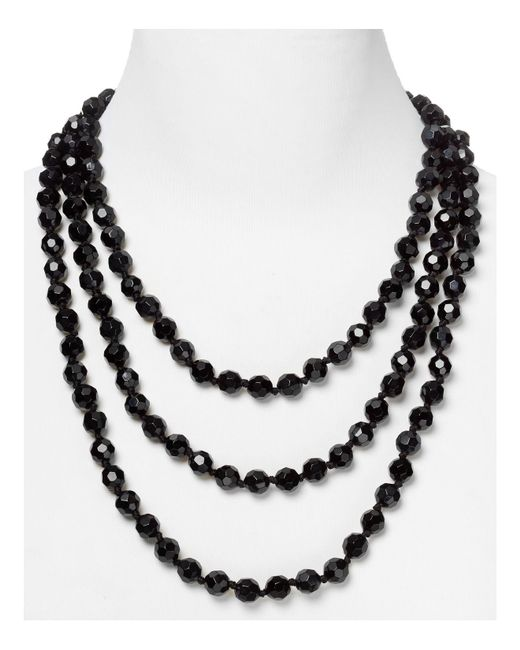 Carolee | Black Faceted Bead Rope Necklace | Lyst