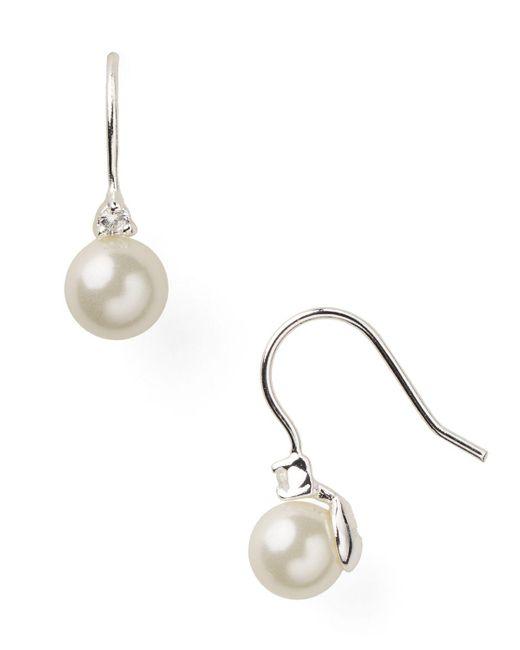 Pink Pony | White Lauren Earrings - Triple Pearl Earrings | Lyst