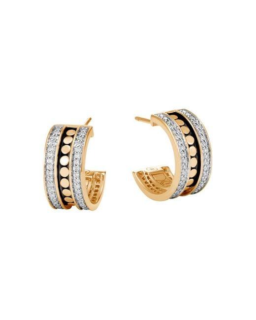 John Hardy - Metallic 18k Yellow Gold Dot Diamond Hoop Earrings - Lyst