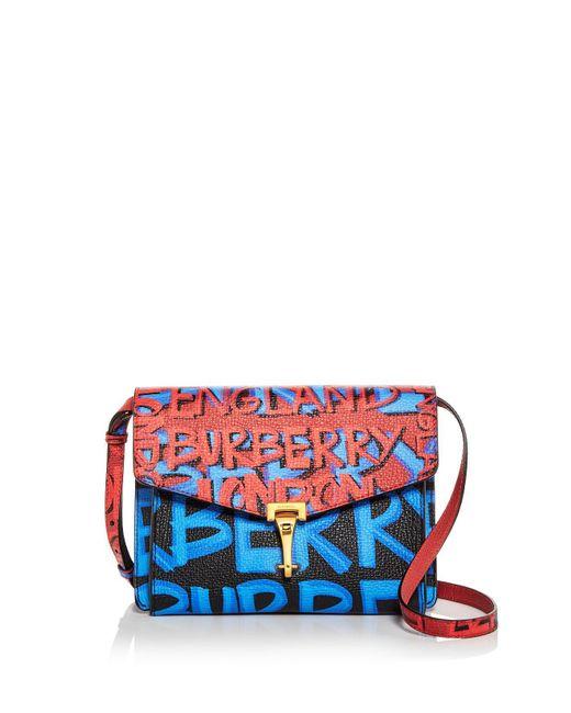 Burberry - Black Small Macken Graffiti Print Leather Crossbody - Lyst