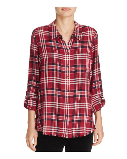 Soft joie anabella e frayed plaid shirt in red lyst for Soft joie plaid shirt