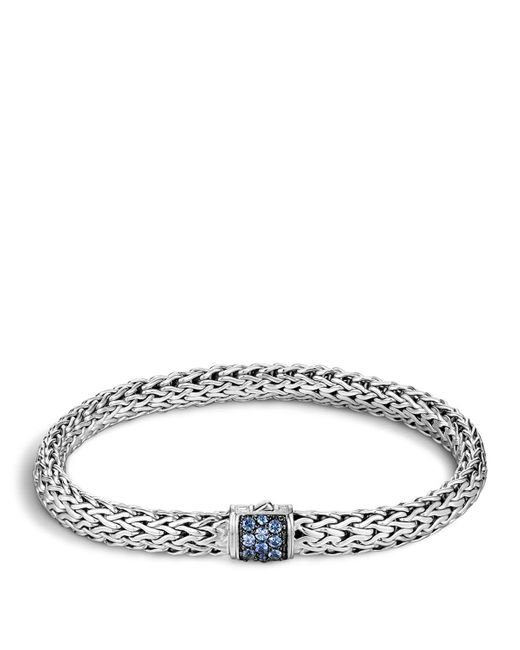 John Hardy | Classic Chain Sterling Silver Lava Small Bracelet With Blue Sapphire | Lyst