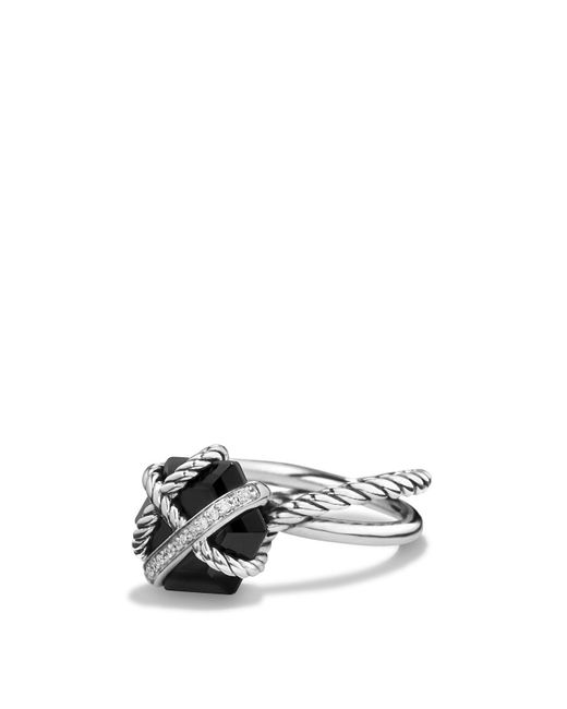 David Yurman | Petite Cable Wrap Ring With Black Onyx And Diamonds | Lyst