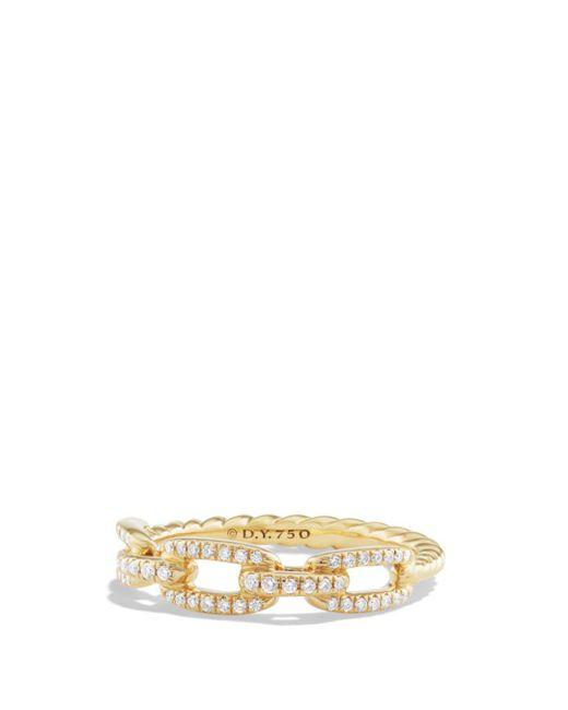 David Yurman - Metallic Stax Single Row Pavé Chain Link Ring With Diamonds In 18k Gold - Lyst