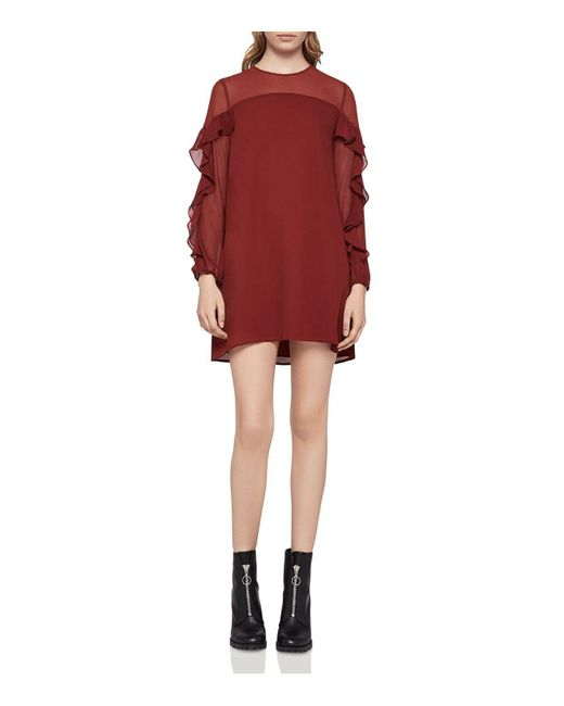 BCBGeneration - Red Ruffle-trimmed Dress - Lyst