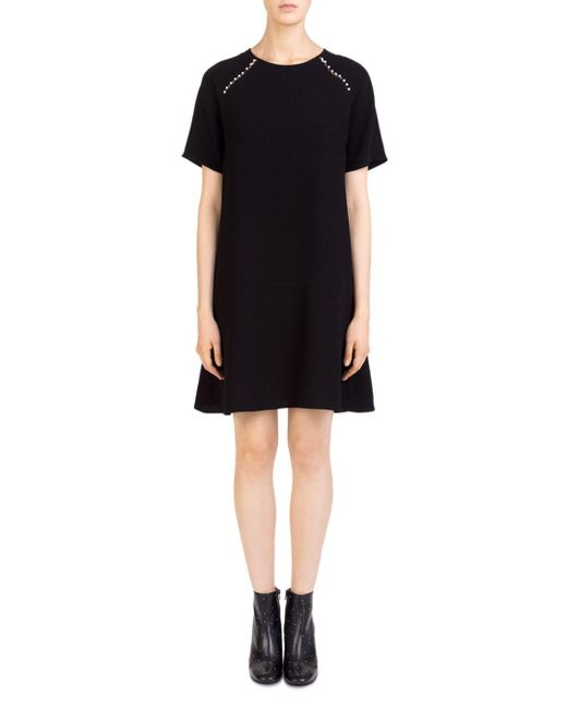 Gerard Darel - Black Agnes Faux-pearl-trim Shift Dress - Lyst