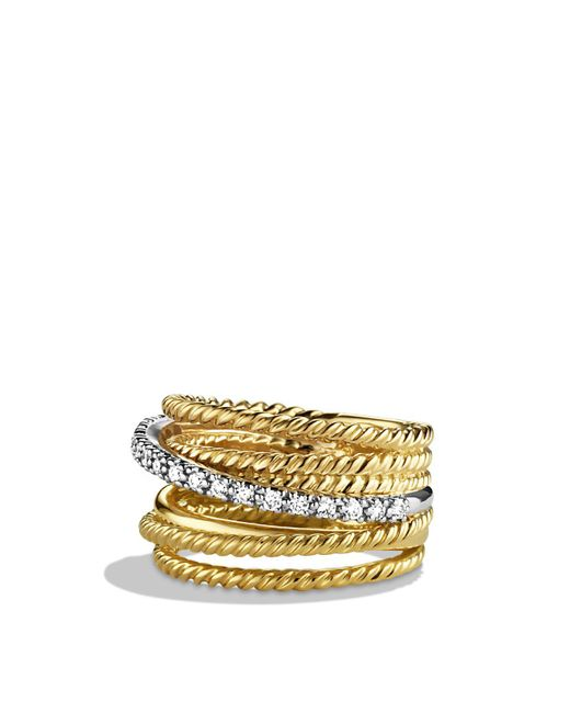 David Yurman - Yellow Crossover Wide Ring With Diamonds In Gold - Lyst