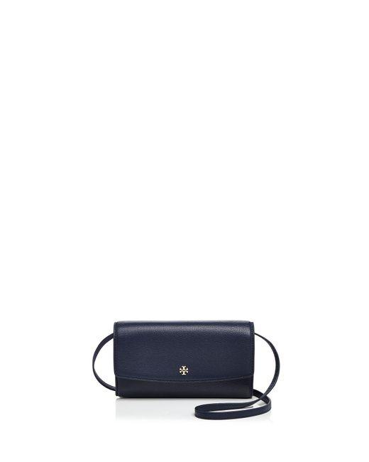 Tory Burch | Blue Robinson Mini Pebbled Leather Wallet Crossbody | Lyst