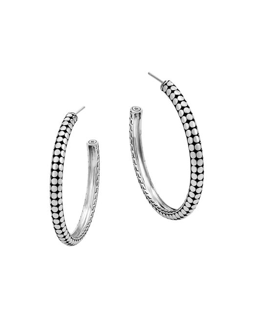 John Hardy | Metallic Sterling Silver Dot Small Hoop Earrings | Lyst