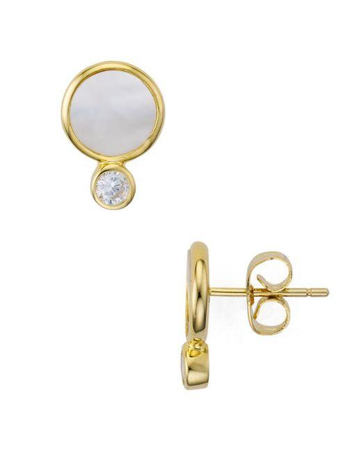 c5e969a61 Argento Vivo Metallic Mother - Of - Pearl Bezel Stud Earrings In 14k Gold -  Plated ...