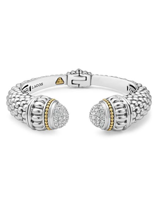 Lagos Metallic 18k Gold And Sterling Silver Caviar And Diamonds Cuff