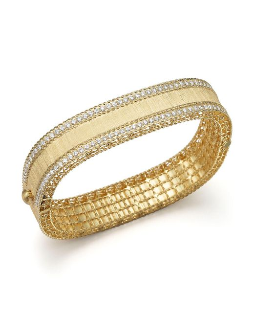 Roberto Coin | Metallic 18k Yellow Gold And Diamond Satin Princess Bangle | Lyst
