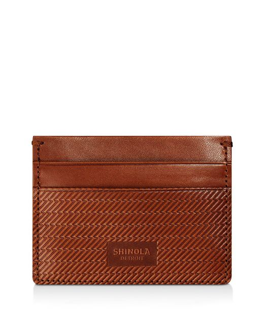 Shinola - Brown Embossed Card Case - Lyst