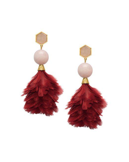 Tory Burch - Red Feather Drop Earrings - Lyst