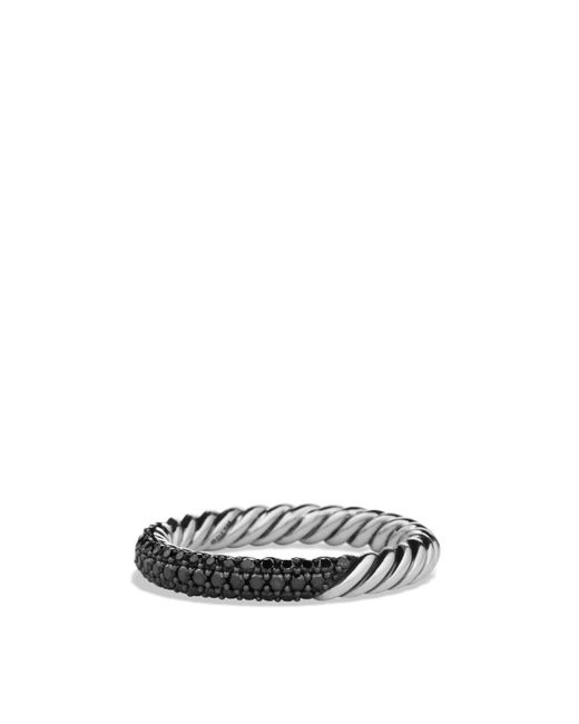 David Yurman | Metallic Petite Pavé Ring With Black Diamonds | Lyst