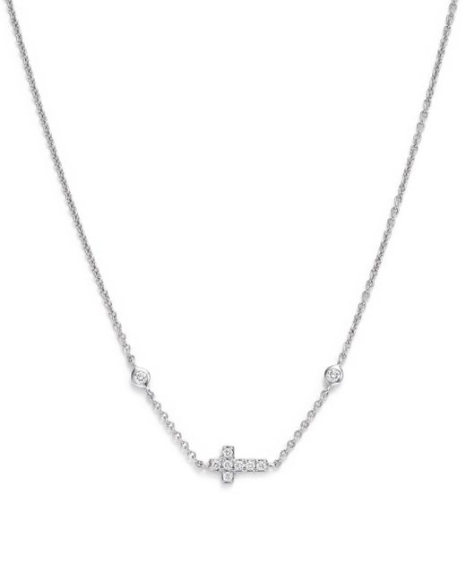 Bloomingdale's - Mini Diamond Cross Necklace In 14k White Gold, .12 Ct. T.w. - Lyst