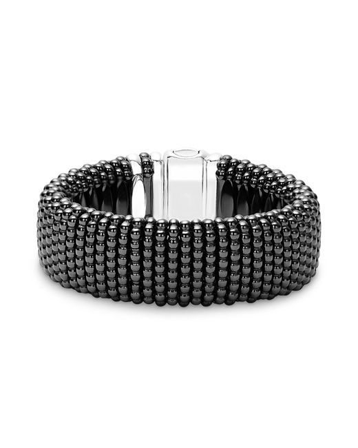 Lagos - Black Caviar Ceramic 18k Gold And Sterling Silver Statement Bracelet - Lyst