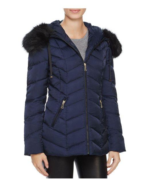 T Tahari | Blue Paris Faux Fur Trim Puffer Coat | Lyst