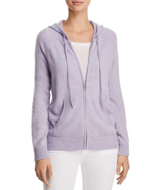 Aqua - Purple Cashmere Zip-front Cashmere Hoodie - Lyst