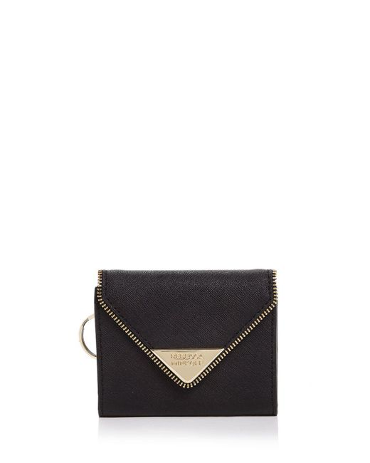 Rebecca Minkoff - Black Molly Metro Saffiano Leather Card Case - Lyst