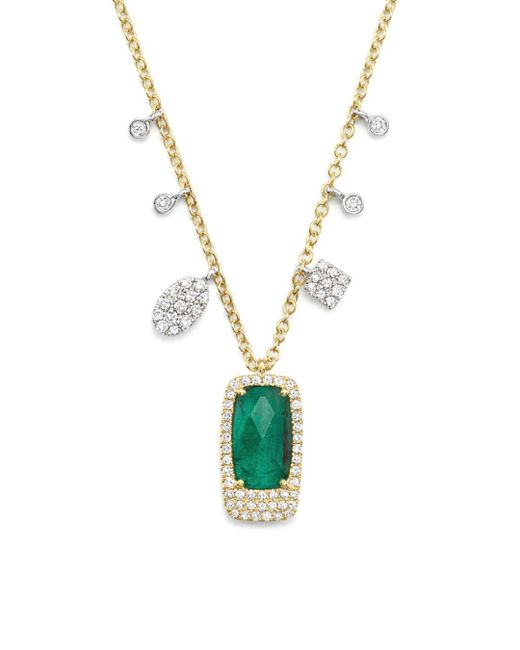 Meira T - Multicolor 14k White And Yellow Gold Emerald Pendant Necklace With Diamonds - Lyst