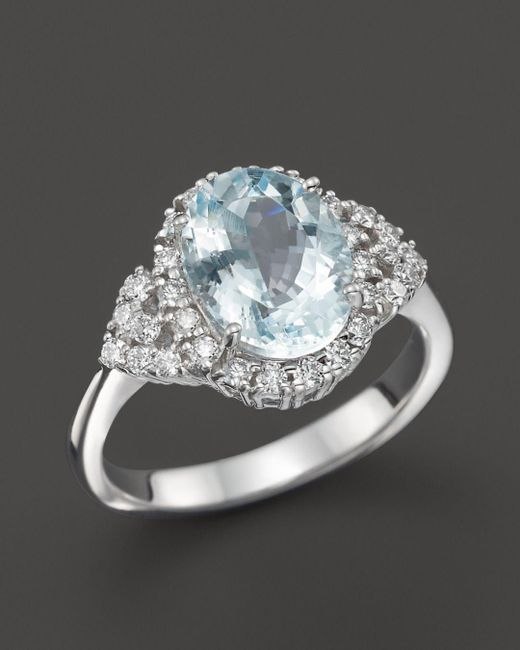 Bloomingdale's - Multicolor Aquamarine And Diamond Ring In 14k White Gold - Lyst