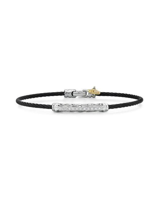 Alor | Pavé Diamond Black Cable Bangle | Lyst