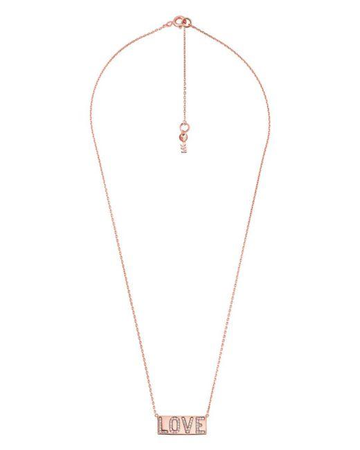 34e669d9b408 ... Michael Kors - Metallic Rose Gold-tone Pavé Love Pendant Necklace