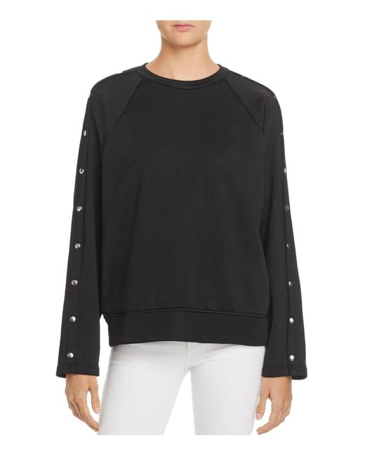 T By Alexander Wang | Black Snap-sleeve French Terry Sweatshirt | Lyst